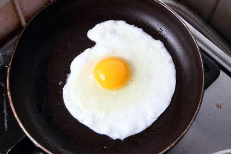 albumin: Food photography closeup photo of bullseye egg fried in a pan