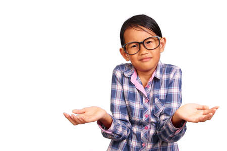 shrug: Little girl with glasses performing shrug or I dont know gesture isolated on white