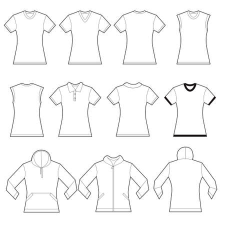sleeved: Set of white female shirt template designs