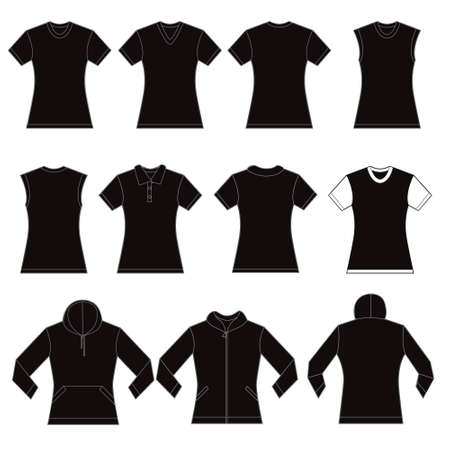 tank top: Set of black female shirt template designs Illustration