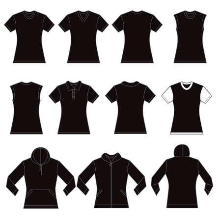 zip hoodie: Set of black female shirt template designs Illustration