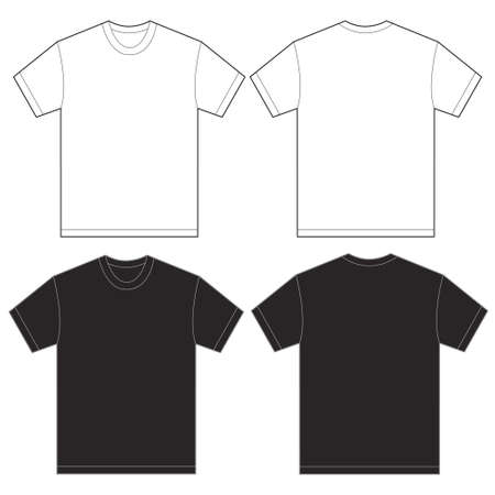 Vector illustration of black and white shirt, isolated front and back design template for men Vectores