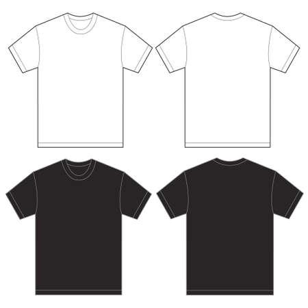 Vector illustration du noir et chemise blanche, avant isolé et arrière modèle de conception pour les hommes Banque d'images - 47486304