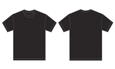 Vector illustration of black shirt, isolated front and back design template for men