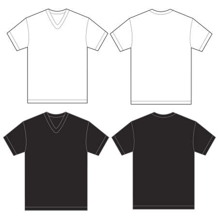 Vector illustration of black and white v-neck shirt, isolated front and back design template for men