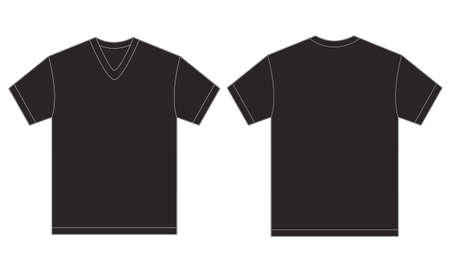 black men: Vector illustration of black v-neck shirt, isolated front and back design template for men