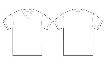 Vector illustration of white v-neck shirt, isolated front and back design template for men