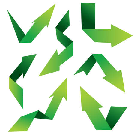 taper: Vector illustration of folded arrows in green color isolated on white