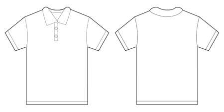 Vector illustration of white polo shirt, isolated front and back design template for men