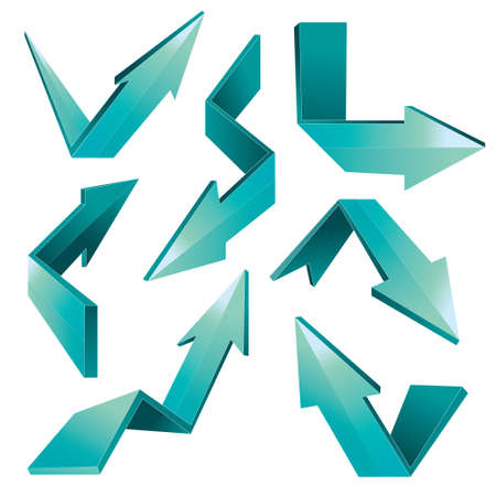 taper: Vector illustration of 3d folded arrows in blue color isolated on white