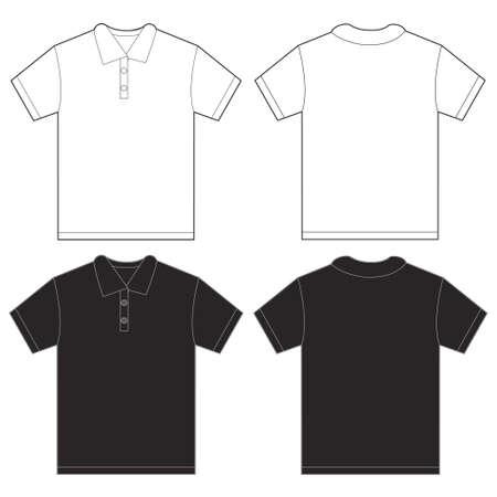 Ilustración del vector de la camisa de polo blanco y negro, fondo frente y diseño de la plantilla de nuevo para los hombres