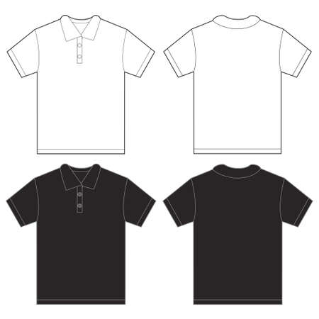 tee shirt: Vector illustration of black and white polo shirt, isolated front and back design template for men
