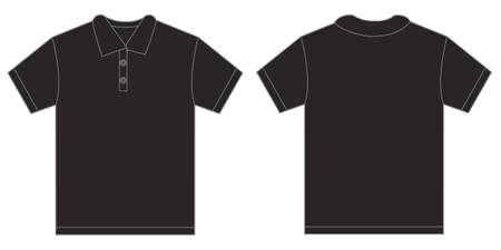black men: Vector illustration of black polo shirt, isolated front and back design template for men