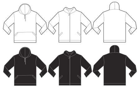 sweatshirt: Ilustración del vector de la camiseta blanco y negro con capucha, aislado frente y atrás plantilla de diseño para hombres