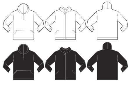 hoodie: Vector illustration of black and white hoodie sweatshirt, isolated front and back design template for men