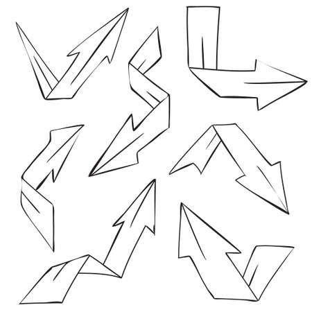 pointed arrows: Vector illustration of folded arrows in doodle cartoon style Illustration