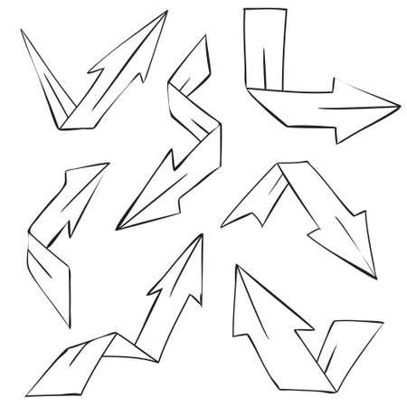 taper: Vector illustration of folded arrows in doodle cartoon style Illustration