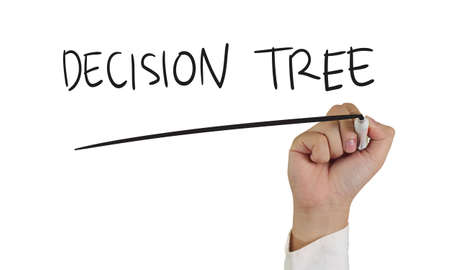 decision tree: Business concept image of a hand holding marker and write Decision Tree isolated on white Stock Photo