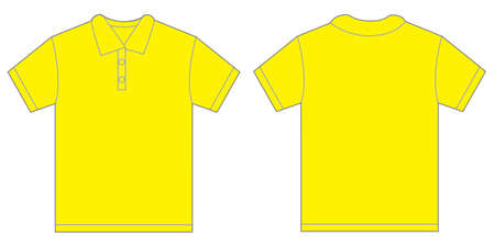 yellow shirt: Vector illustration of yellow polo shirt, isolated front and back design template for men