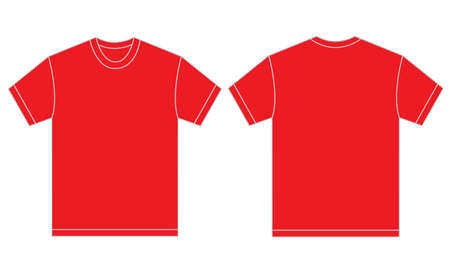 tees: Vector illustration of red shirt, isolated front and back design template for men Illustration