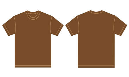 brown shirt: Vector illustration of brown shirt, isolated front and back design template for men