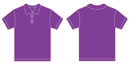 long sleeve: Vector illustration of purple polo shirt, isolated front and back design template for men