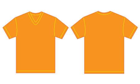v neck: Vector illustration of orange v-neck shirt, isolated front and back design template for men