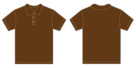 brown shirt: Vector illustration of brown polo shirt, isolated front and back design template for men Illustration