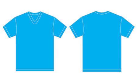 v neck: Vector illustration of light blue v-neck shirt, isolated front and back design template for men Illustration