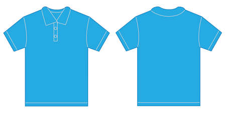 blue shirt: Vector illustration of light blue polo shirt, isolated front and back design template for men Illustration