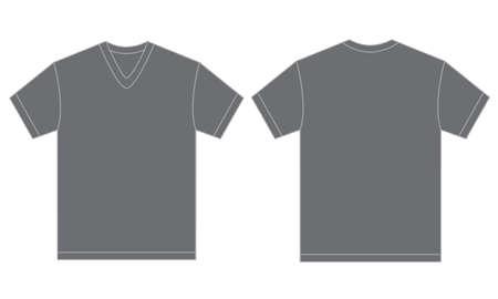 v neck: Vector illustration of grey v-neck shirt, isolated front and back design template for men