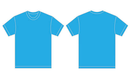 light blue: Vector illustration of light blue shirt, isolated front and back design template for men