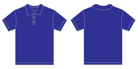 polo shirt: Vector illustration of blue polo shirt, isolated front and back design template for men