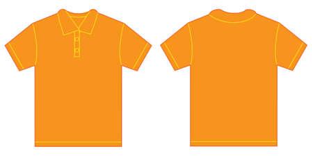 naranja color: Ilustraci�n vectorial de camisa naranja de polo, aislado frente y atr�s plantilla de dise�o para hombres