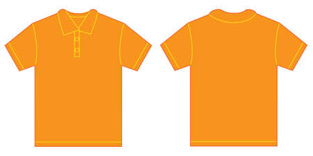 Vector illustration of orange polo shirt, isolated front and back design template for men Illustration