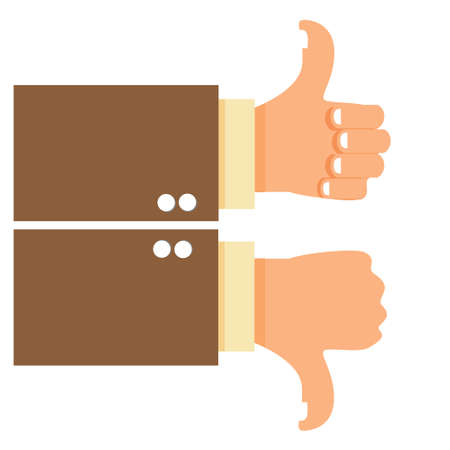 disagreement: Vector illustration of thumbs up and down isolated on white