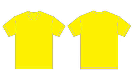 Vector illustration of yellow shirt, isolated front and back design template for men