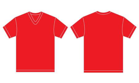 uomo rosso: illustrazione vettoriale di camicia rossa con scollo a V, front isolato e modello di progettazione indietro per gli uomini Vettoriali