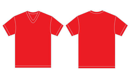 men shirt: Vector illustration of red v-neck shirt, isolated front and back design template for men