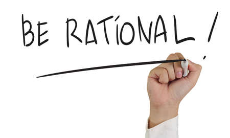 rationalism: Motivational concept image of a hand holding marker and write Be Rational words isolated on white Stock Photo