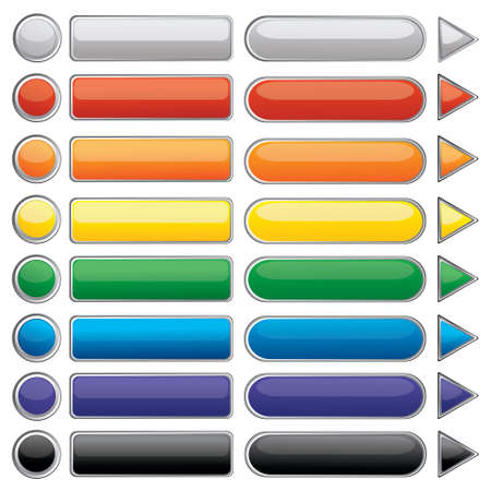 glossy: Vector illustration of Glowing Button Icons in many color isolated on white