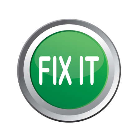 it: Vector illustration of Fix It button isolated on white Illustration