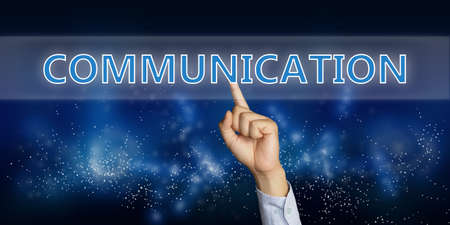 network people: Education concept image of a businessman hand clicking Communication button on virtual screen over space background