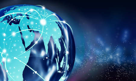conexiones: Internet concepto de conexión global, imagen de la tierra con las líneas blancas de la señal de conexión continentes sobre el fondo del espacio Foto de archivo