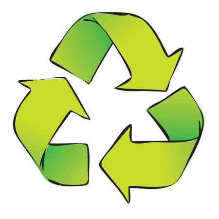 recycling symbols: Vector illustration of green recycle symbol isolated on white Illustration