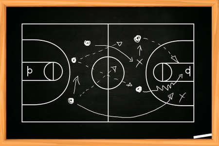 Chalk board drawing of basketball game strategy on blackboard