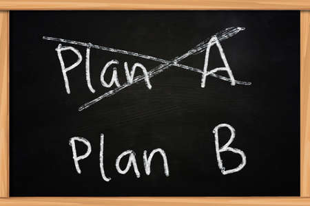 back up: Chalk drawing on blackboard of Plan A and Plan B concept