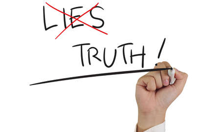 business dilemma: Motivational concept image of a hand holding marker, crossing lies word and write truth isolated on white
