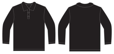 long sleeved: Vector illustration of black long sleeved polo shirt, isolated front and back design template for men