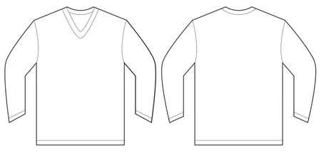 sleeved: Vector illustration of white long sleeved v-neck shirt, isolated front and back design template for men